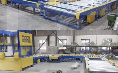 Empty Pallet Dispenser and Filling, Weighing and discharge conveyors